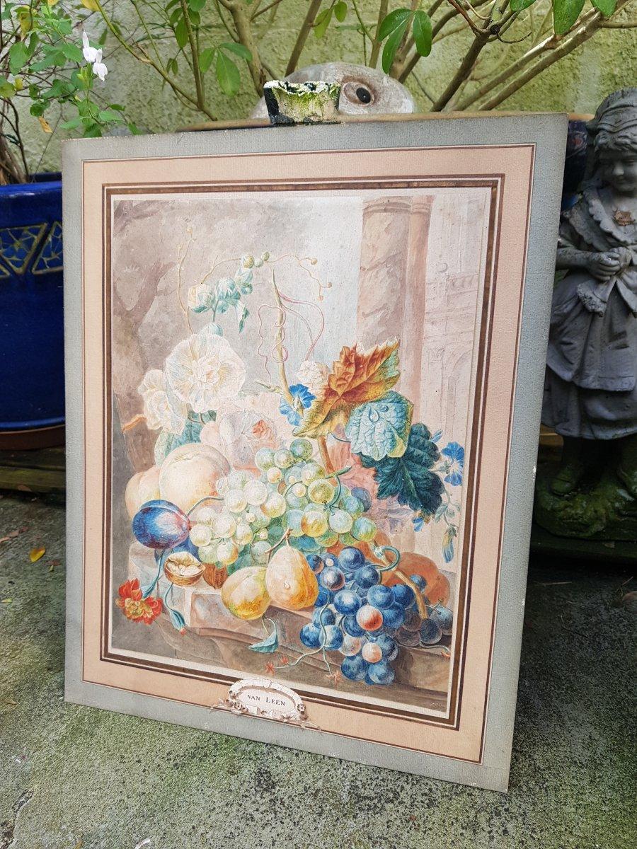 Aquarelle De Willem Van Leen (1753-1825) Fleurs,fruits Et Ruines Antiques.-photo-4
