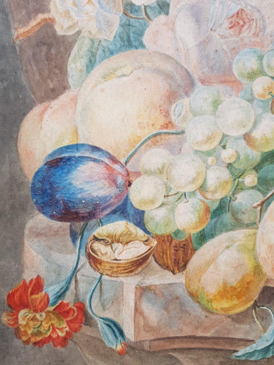 Aquarelle De Willem Van Leen (1753-1825) Fleurs,fruits Et Ruines Antiques.-photo-3