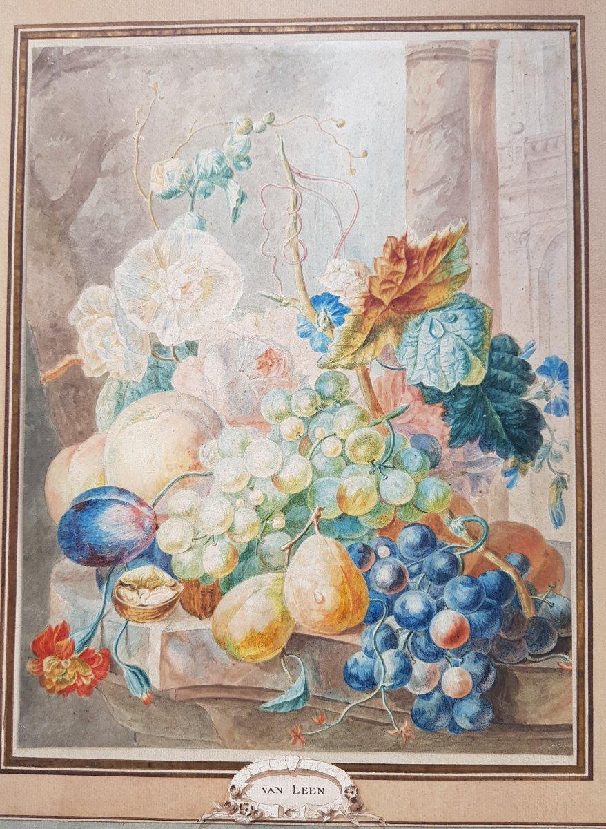 Aquarelle De Willem Van Leen (1753-1825) Fleurs,fruits Et Ruines Antiques.-photo-7