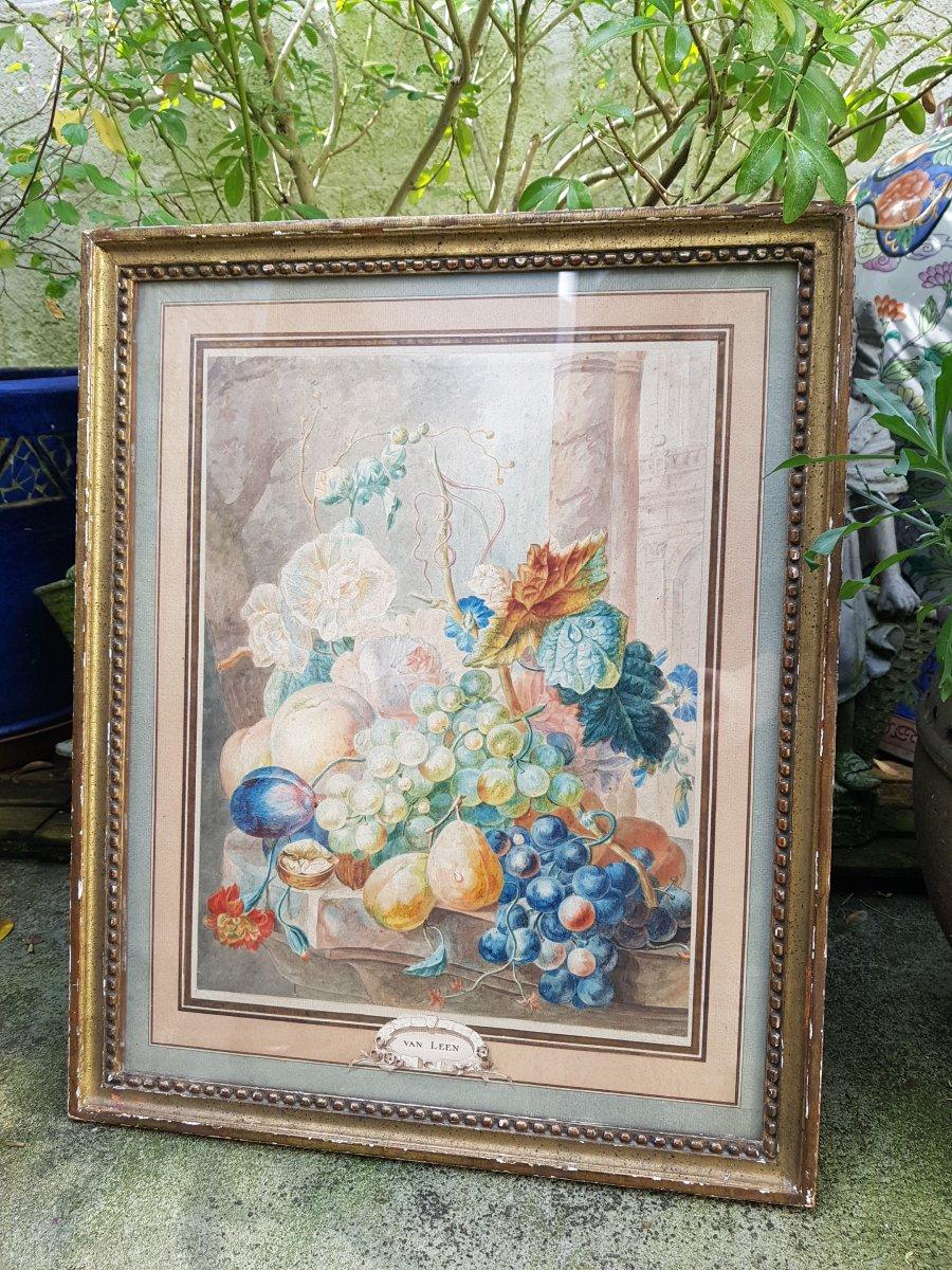 Aquarelle De Willem Van Leen (1753-1825) Fleurs,fruits Et Ruines Antiques.-photo-8