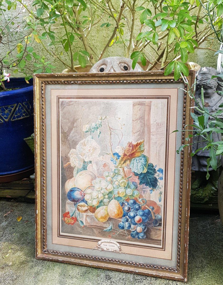 Aquarelle De Willem Van Leen (1753-1825) Fleurs,fruits Et Ruines Antiques.