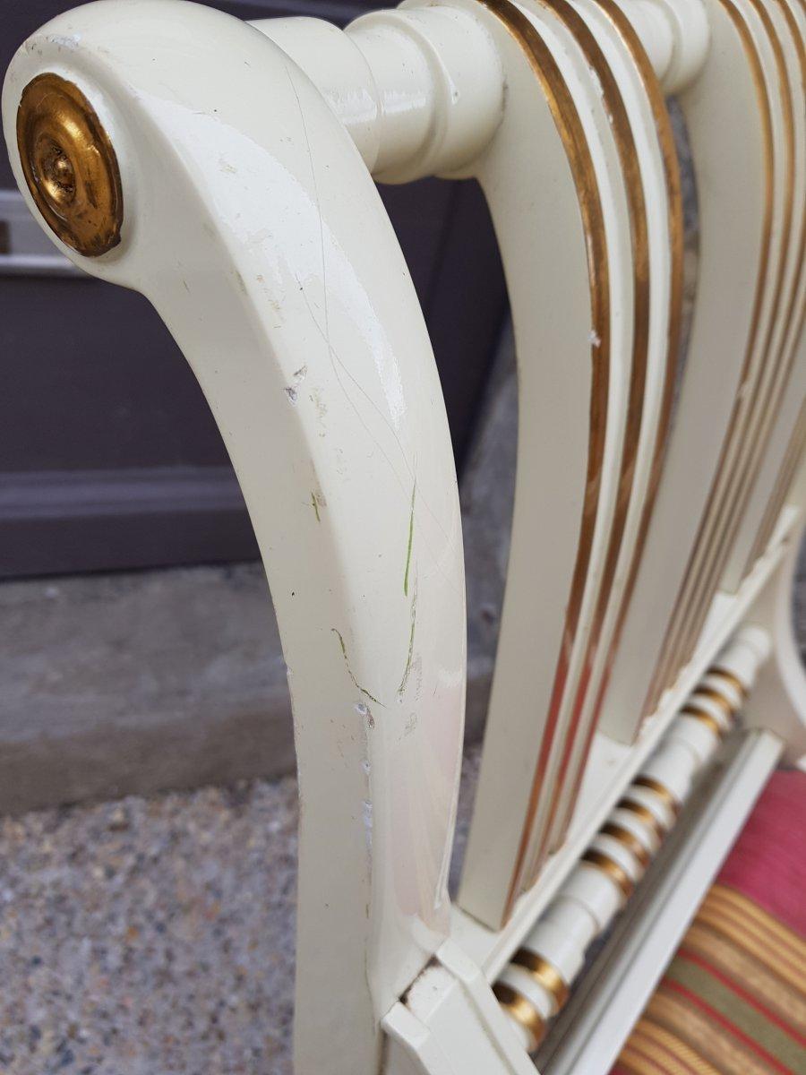 Paire De Larges Fauteuils Maison Roméo Empire Néo Classique-photo-6