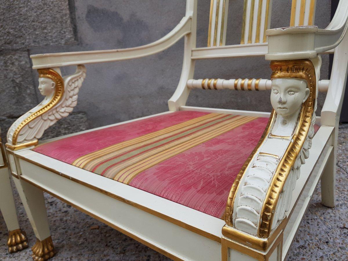 Paire De Larges Fauteuils Maison Roméo Empire Néo Classique-photo-7