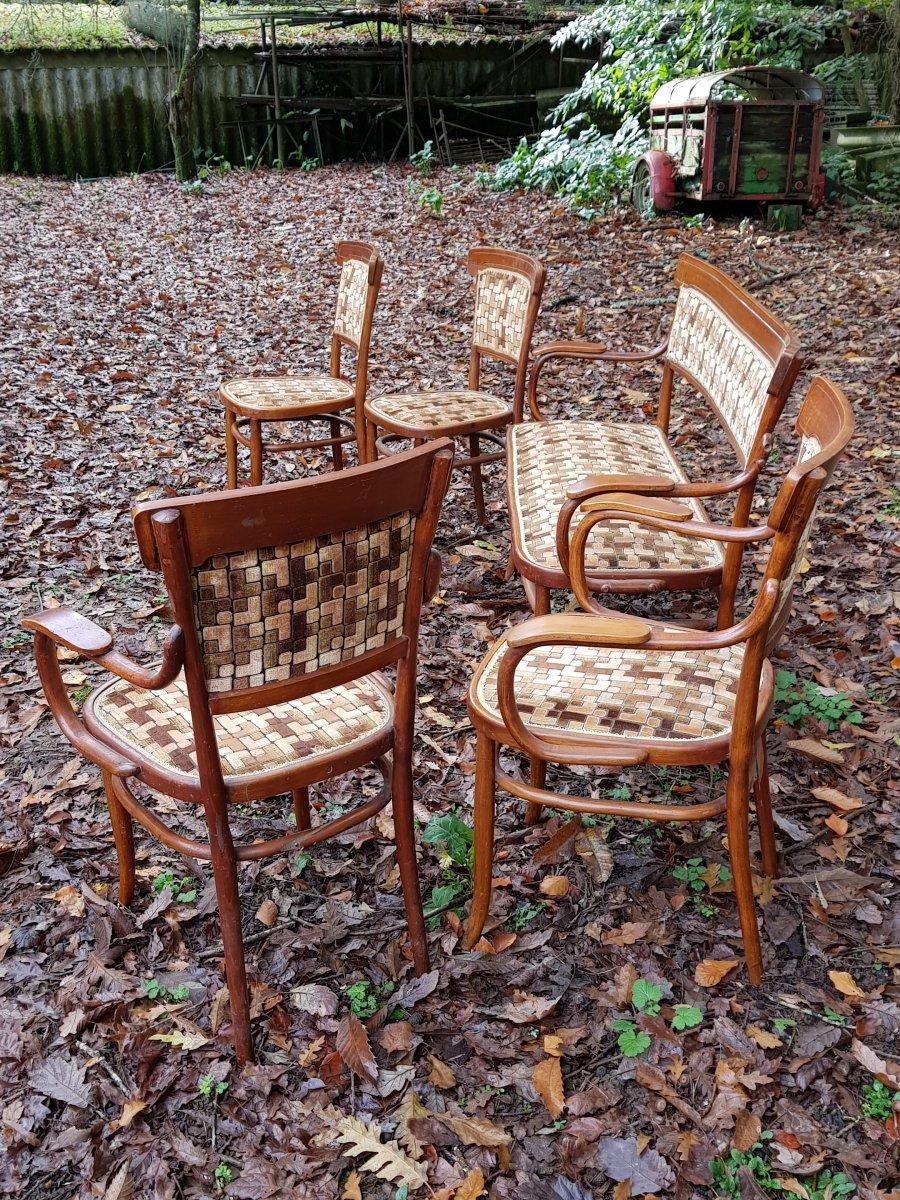 Petit Salon Thonet En Bois Courbé Canapé Fauteuils Et Chaises-photo-3