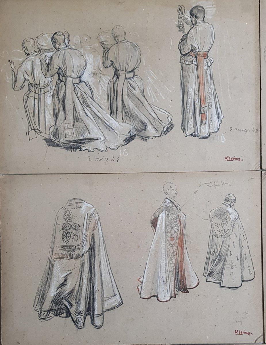 17 Dessins Préparatoires Auguste Lepère Pour La Procession Fête Dieu Nantes 1901-photo-3