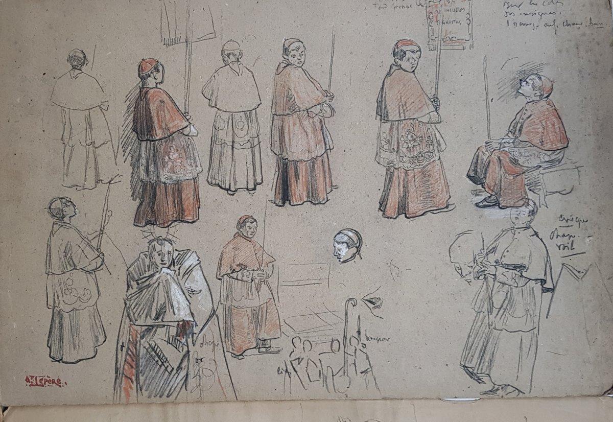 17 Dessins Préparatoires Auguste Lepère Pour La Procession Fête Dieu Nantes 1901-photo-2