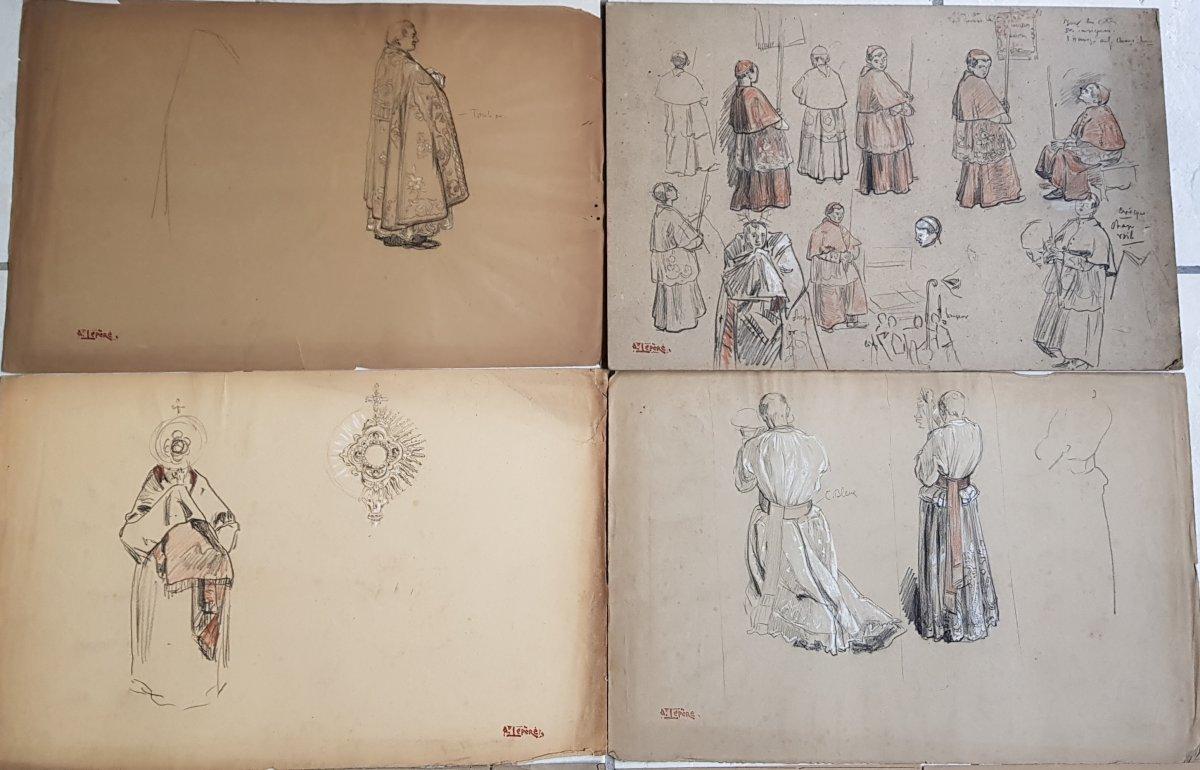17 Dessins Préparatoires Auguste Lepère Pour La Procession Fête Dieu Nantes 1901-photo-5