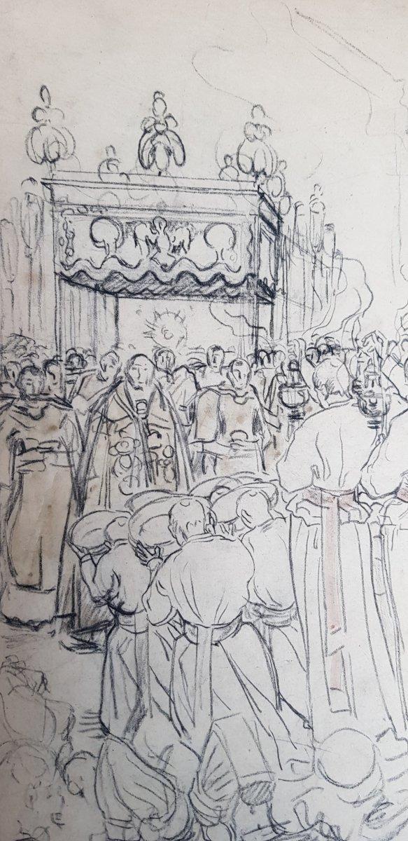 17 Dessins Préparatoires Auguste Lepère Pour La Procession Fête Dieu Nantes 1901-photo-6