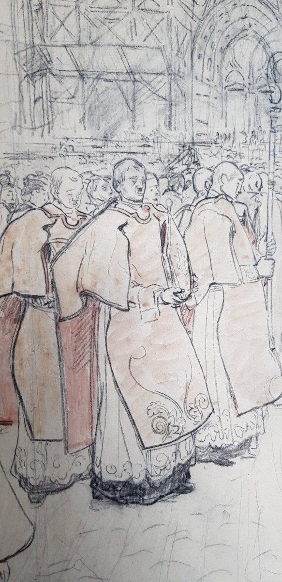 17 Dessins Préparatoires Auguste Lepère Pour La Procession Fête Dieu Nantes 1901-photo-7