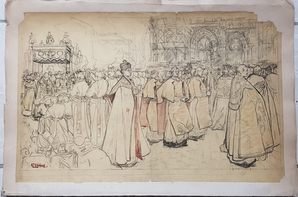 17 Dessins Préparatoires Auguste Lepère Pour La Procession Fête Dieu Nantes 1901-photo-8