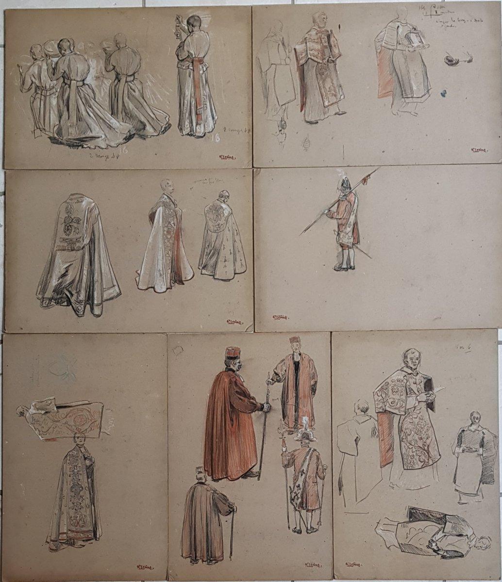 17 Dessins Préparatoires Auguste Lepère Pour La Procession Fête Dieu Nantes 1901