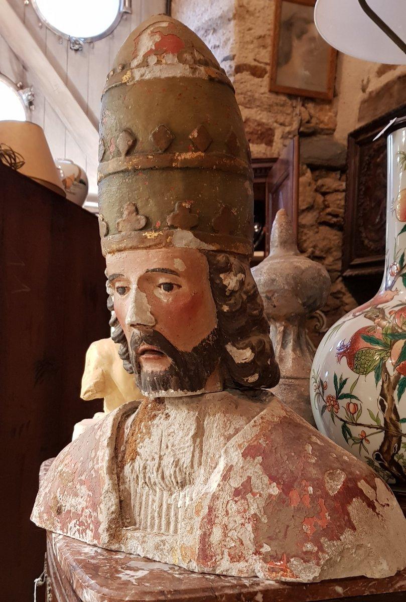 Buste De Saint Corneille Cornely En Pierre Calcaire Polychrome Et Doré-photo-2