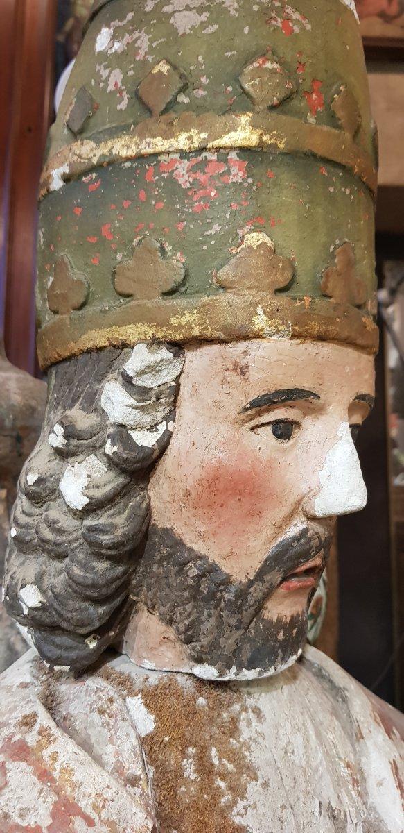 Buste De Saint Corneille Cornely En Pierre Calcaire Polychrome Et Doré-photo-4