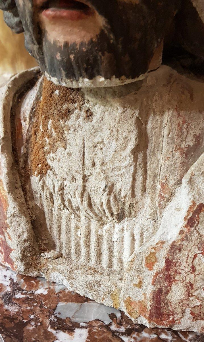 Buste De Saint Corneille Cornely En Pierre Calcaire Polychrome Et Doré-photo-1