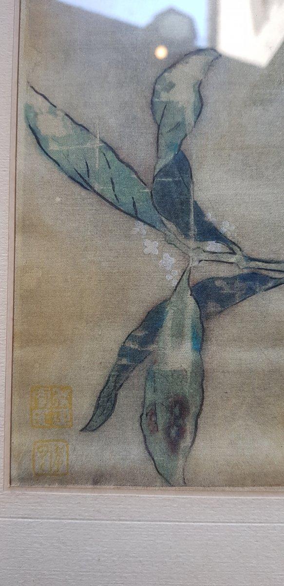 Estampe Chinoise Ou Japonaise Sur Soie Décor d'Oiseau Sur Sa Branche Et Cachets-photo-2