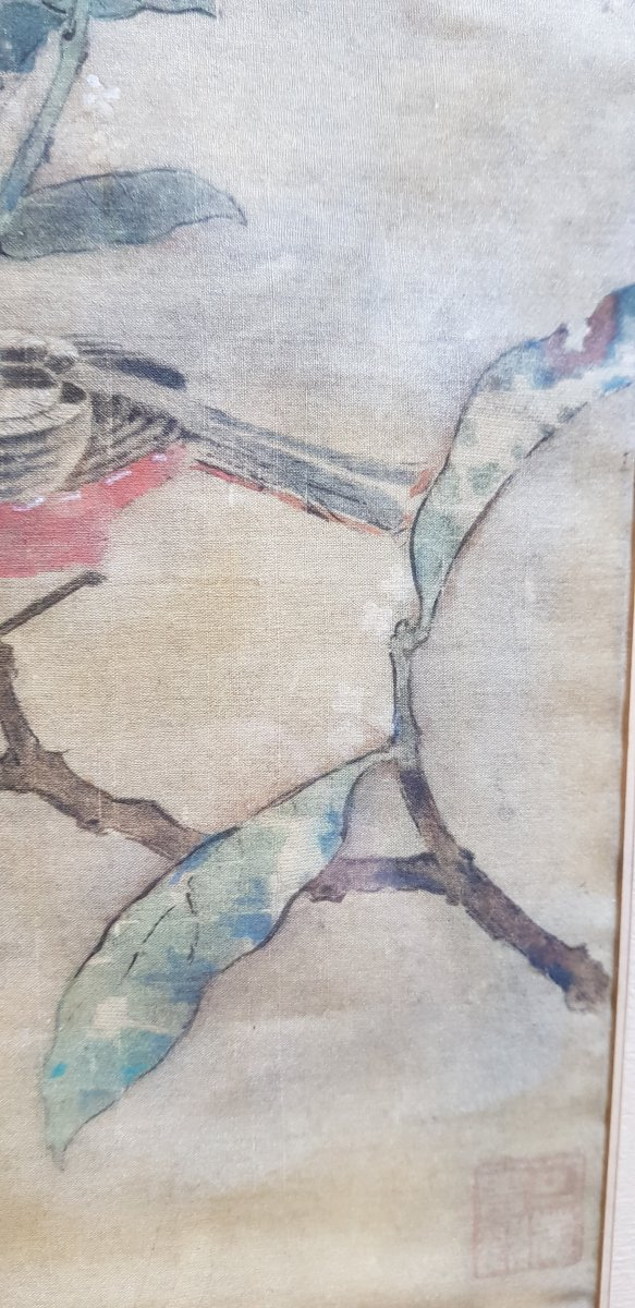 Estampe Chinoise Ou Japonaise Sur Soie Décor d'Oiseau Sur Sa Branche Et Cachets-photo-3
