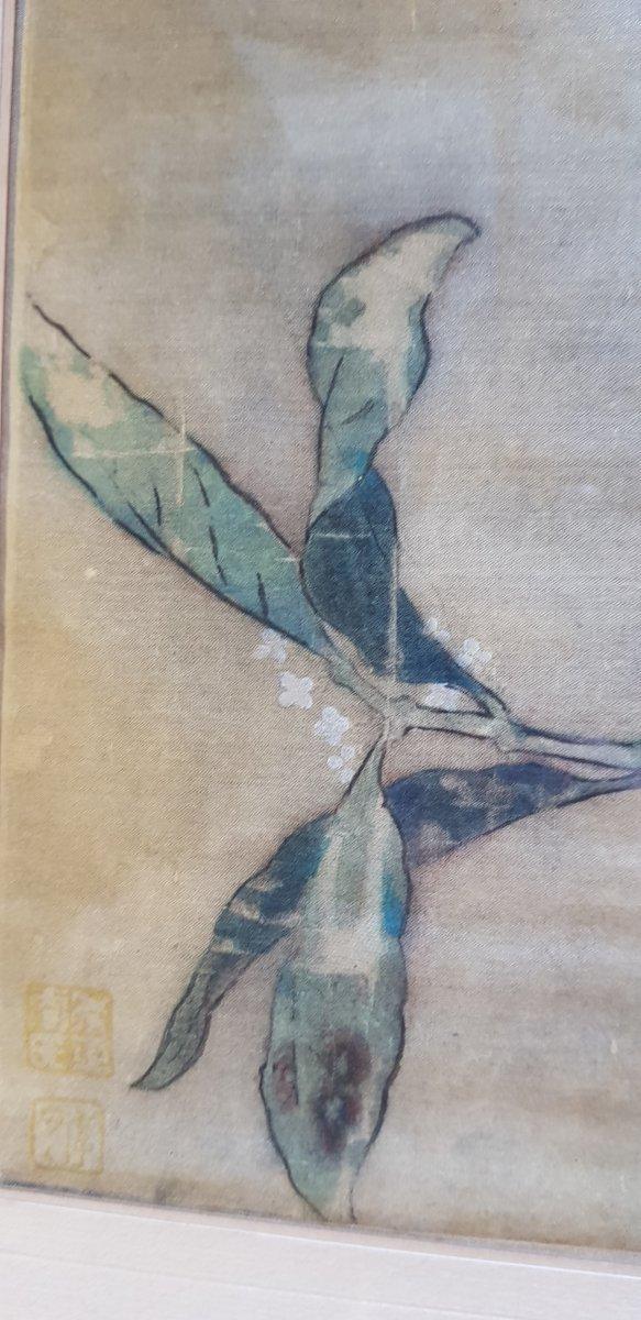 Estampe Chinoise Ou Japonaise Sur Soie Décor d'Oiseau Sur Sa Branche Et Cachets-photo-4