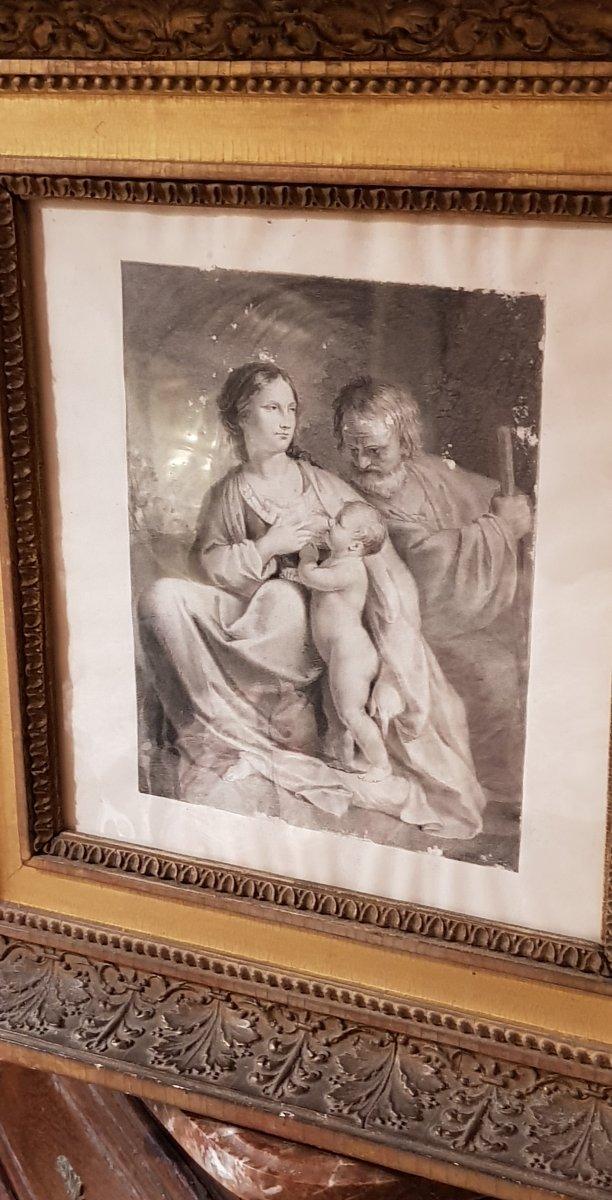 Dessin Au Crayon Et Encre 18ème Représentant La Pause De La Sainte Famille ,fuite Egypte-photo-4