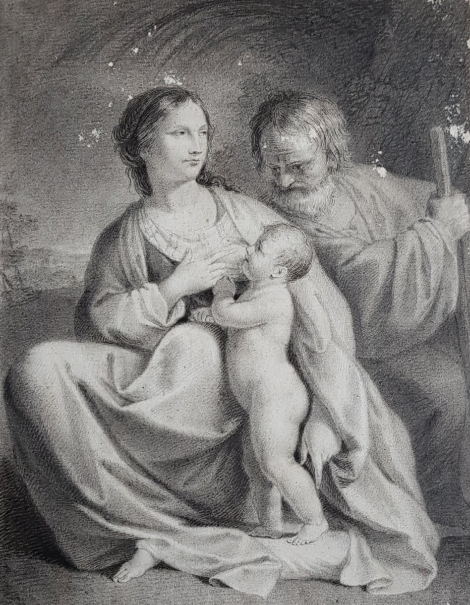 Drawing In Pencil And Ink 18th Representing The Break Of The Holy Family, Flight Egypt