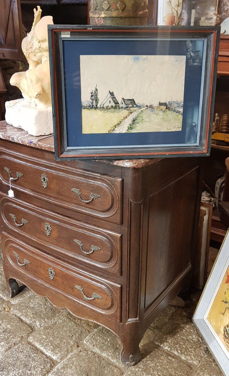 Aquarelle Bretonne  Signée Henri Noizeux (1871-?) Maisons Campagne En Bretagne -photo-2