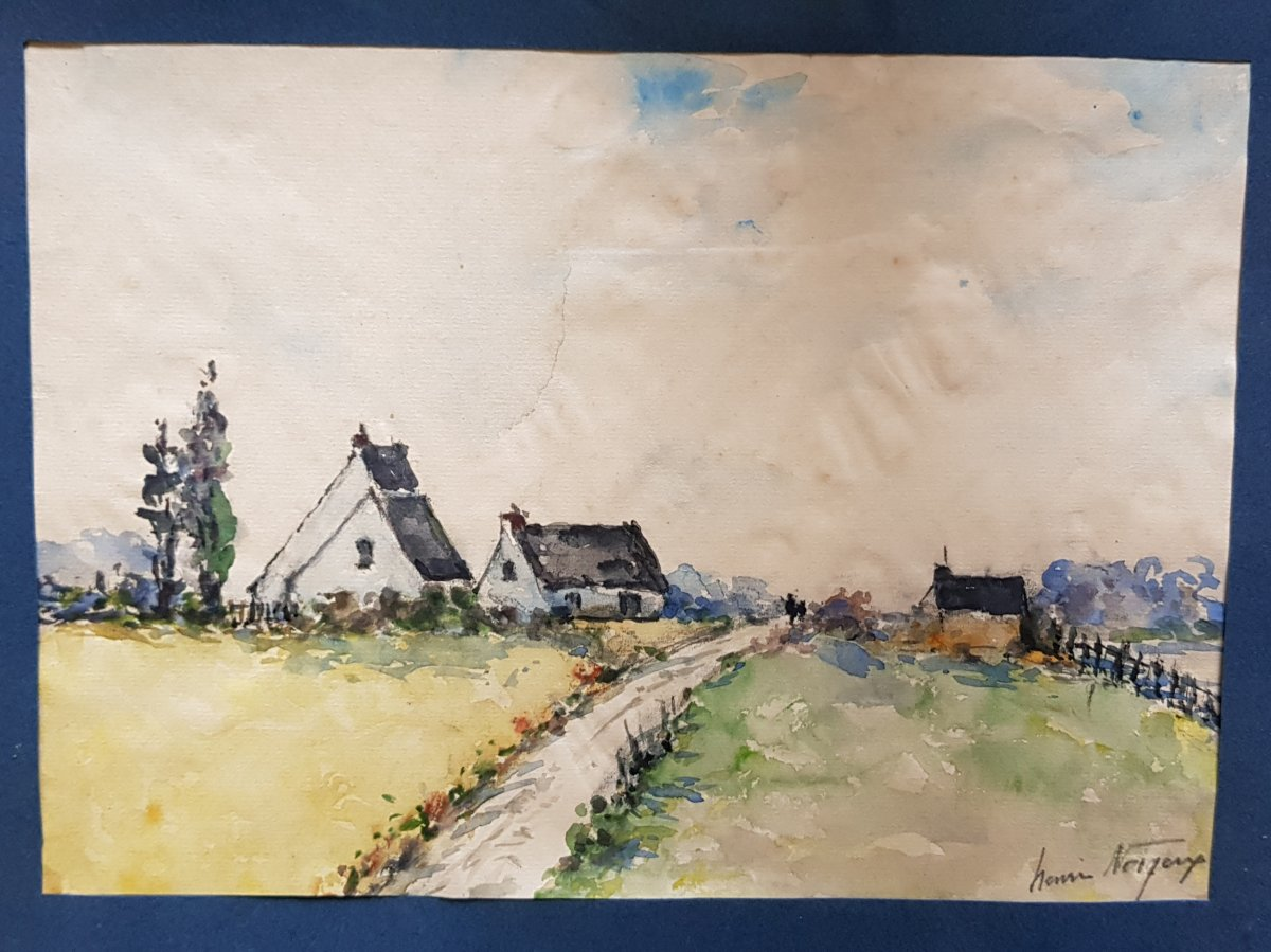 Aquarelle Bretonne  Signée Henri Noizeux (1871-?) Maisons Campagne En Bretagne