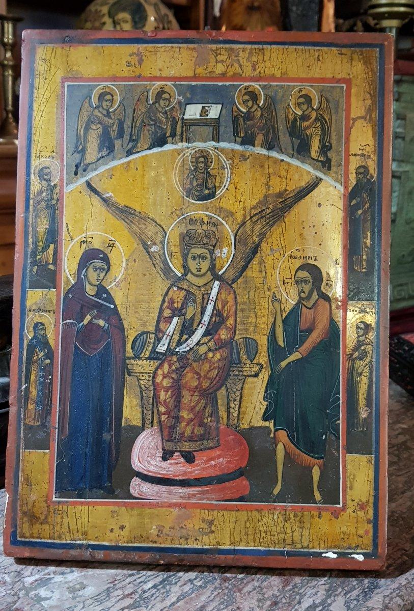 Icône orthodoxe Grecque Sainte Sophie 19ème -photo-2