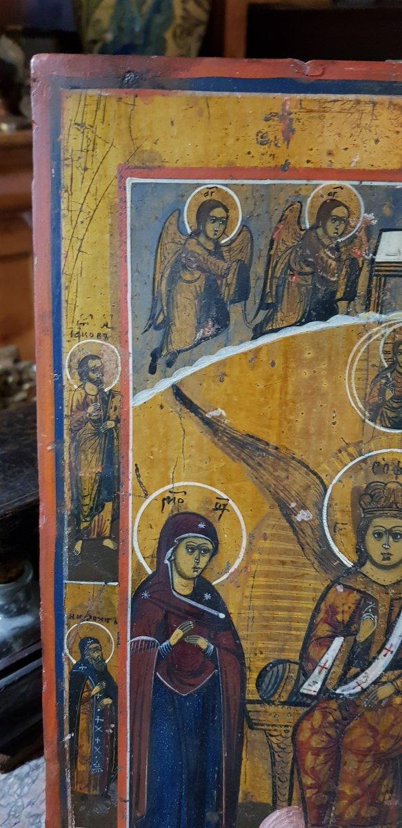 Icône orthodoxe Grecque Sainte Sophie 19ème -photo-4