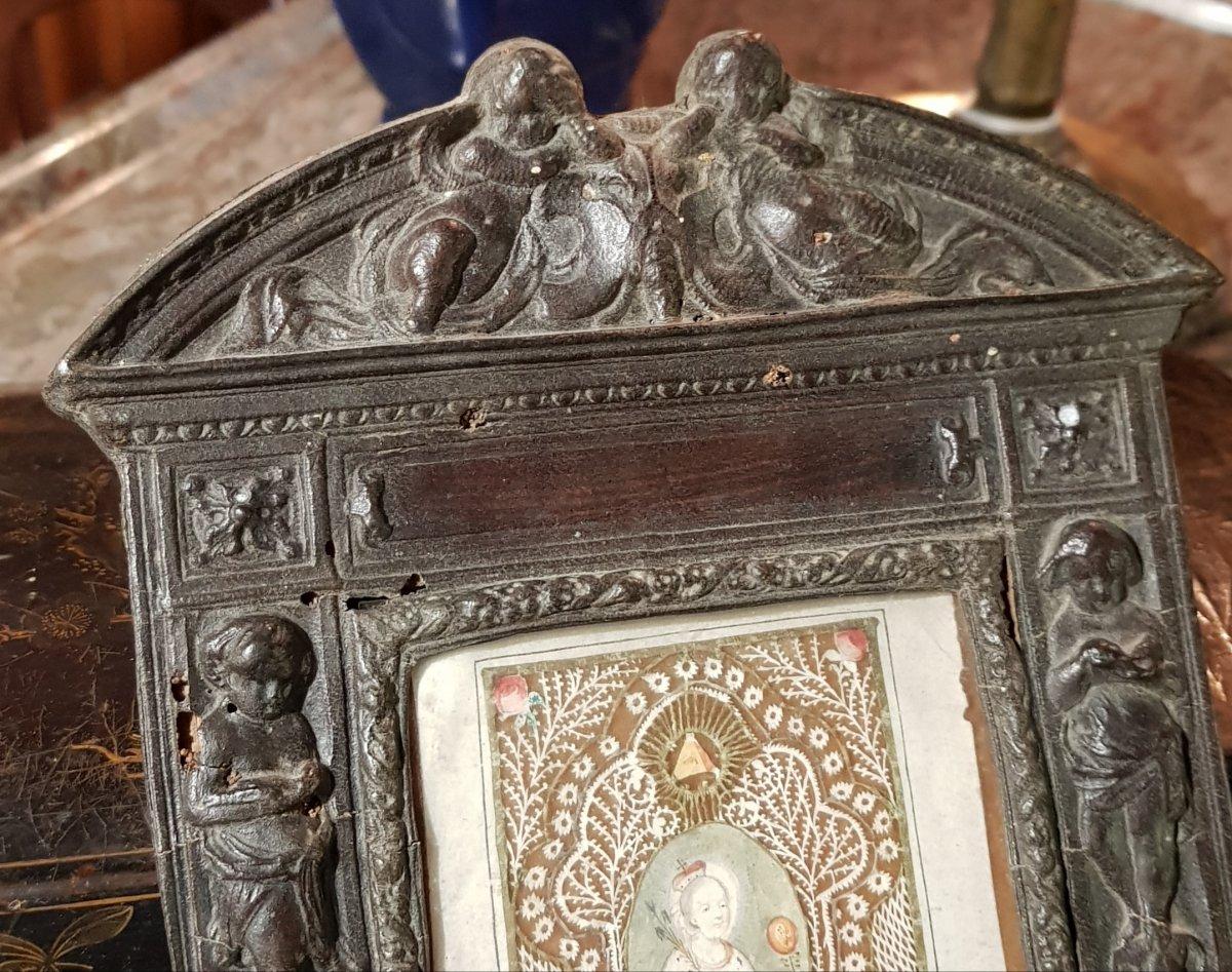 Grand Canivet 18ème Sainte Éléonore Eléonora Dans Son Cadre Néo-Renaissance en Cuir bénitier-photo-2