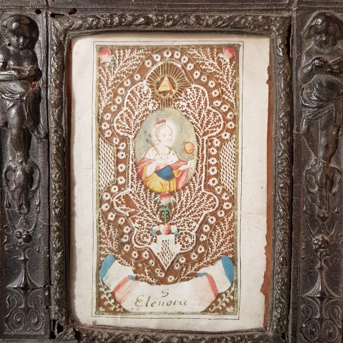 Grand Canivet 18ème Sainte Éléonore Eléonora Dans Son Cadre Néo-Renaissance en Cuir bénitier-photo-4