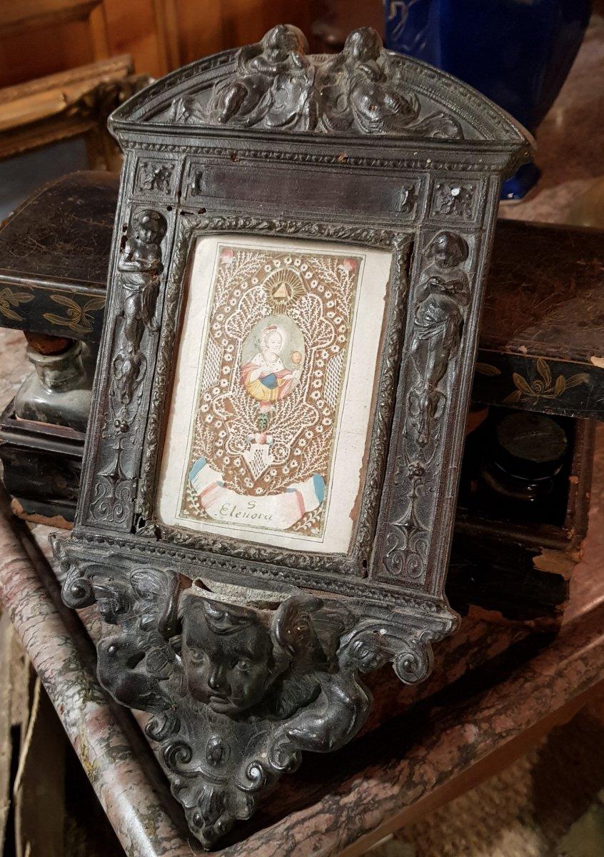 Grand Canivet 18ème Sainte Éléonore Eléonora Dans Son Cadre Néo-Renaissance en Cuir bénitier