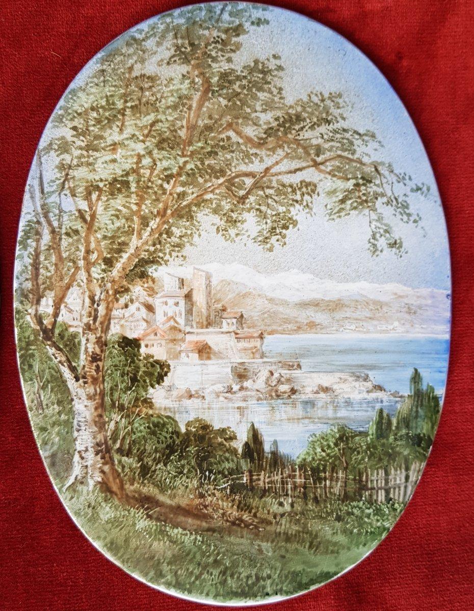 4 Vues De Cannes,antibes,poggio Et San Remo Plaques Ceramique Adélaide Anne Godfrey (1827-1915)-photo-4