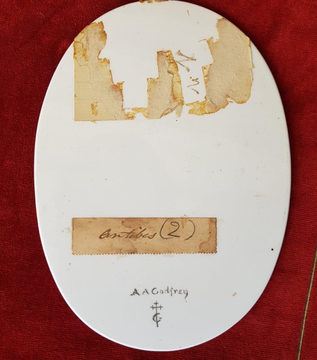 4 Vues De Cannes,antibes,poggio Et San Remo Plaques Ceramique Adélaide Anne Godfrey (1827-1915)-photo-1