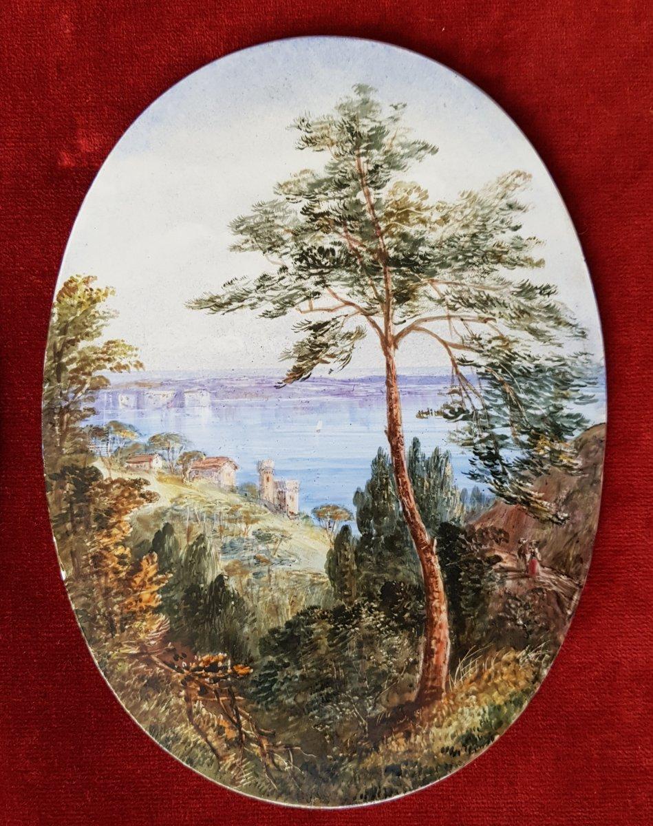 4 Vues De Cannes,antibes,poggio Et San Remo Plaques Ceramique Adélaide Anne Godfrey (1827-1915)-photo-2