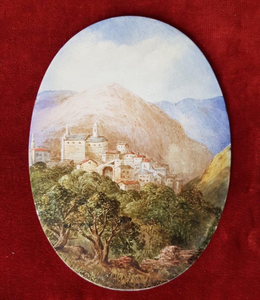 4 Vues De Cannes,antibes,poggio Et San Remo Plaques Ceramique Adélaide Anne Godfrey (1827-1915)-photo-6