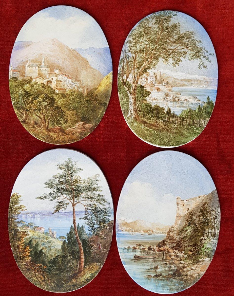 4 Vues De Cannes,antibes,poggio Et San Remo Plaques Ceramique Adélaide Anne Godfrey (1827-1915)