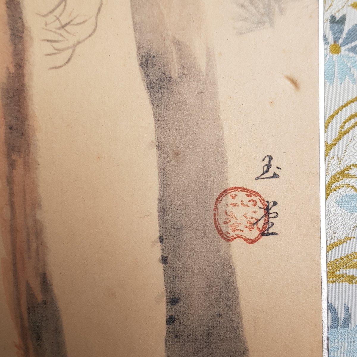 Aquarelle Et Gouache Japonaise Cerf Et Biche Sur Papier Argenté XXème-photo-1