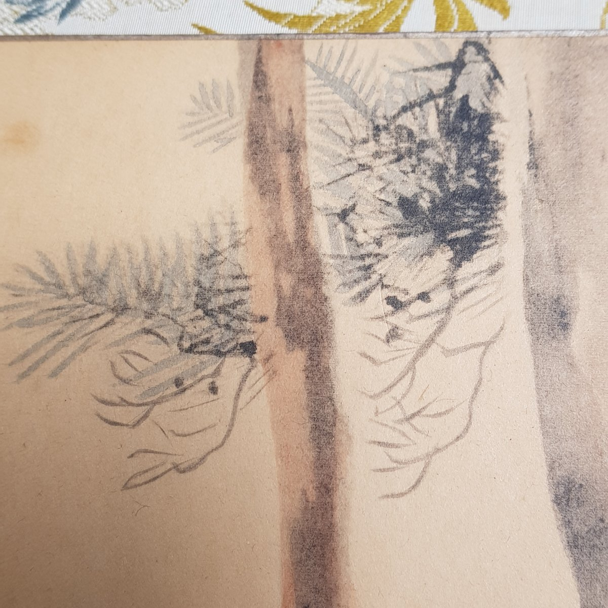 Aquarelle Et Gouache Japonaise Cerf Et Biche Sur Papier Argenté XXème-photo-3