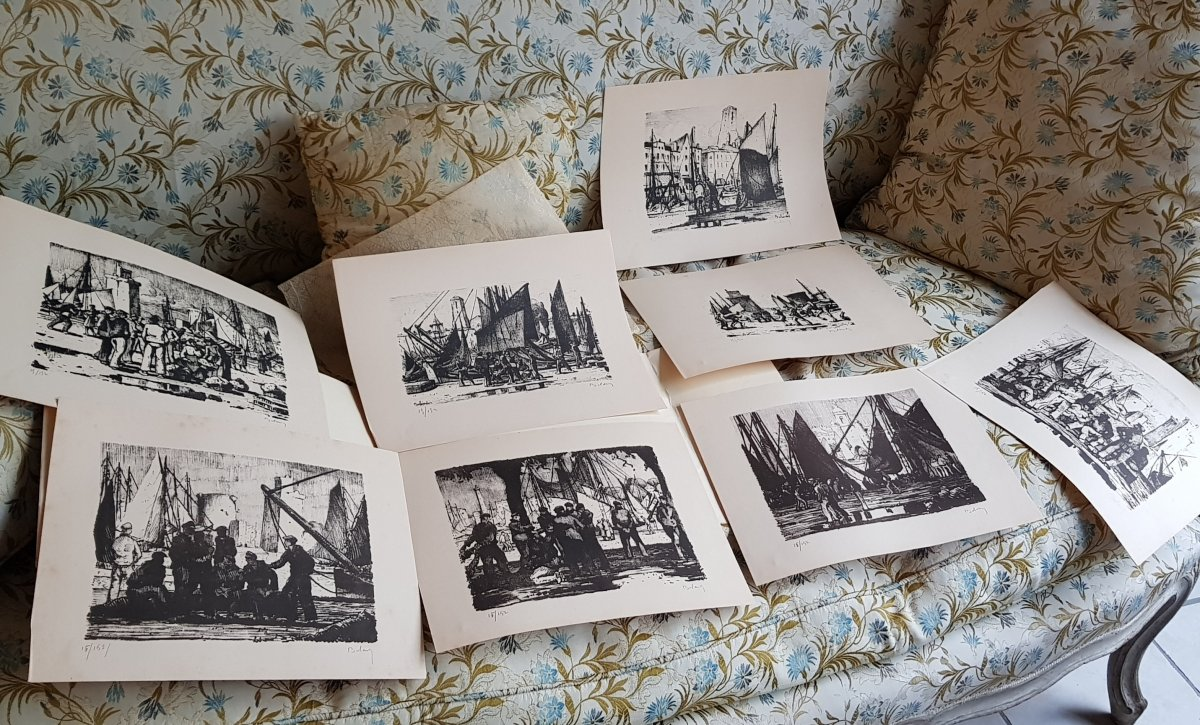 Série De Huit Lithographies De La Rochelle Par Gaston Balande éditions Touzeau-photo-3