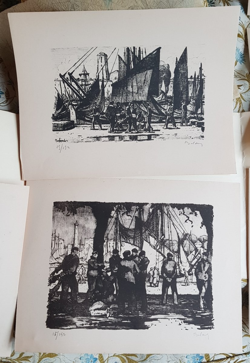 Série De Huit Lithographies De La Rochelle Par Gaston Balande éditions Touzeau-photo-1