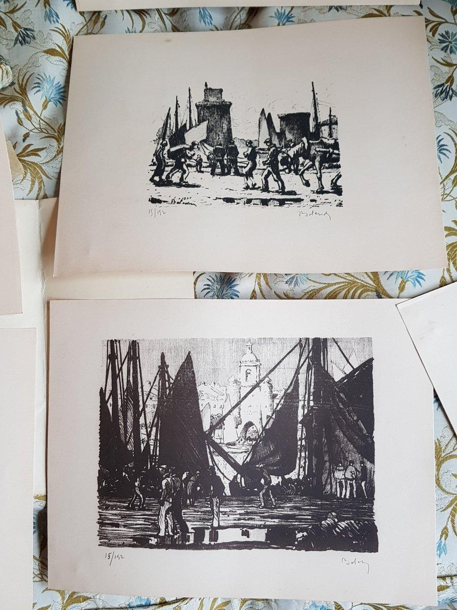 Série De Huit Lithographies De La Rochelle Par Gaston Balande éditions Touzeau-photo-4