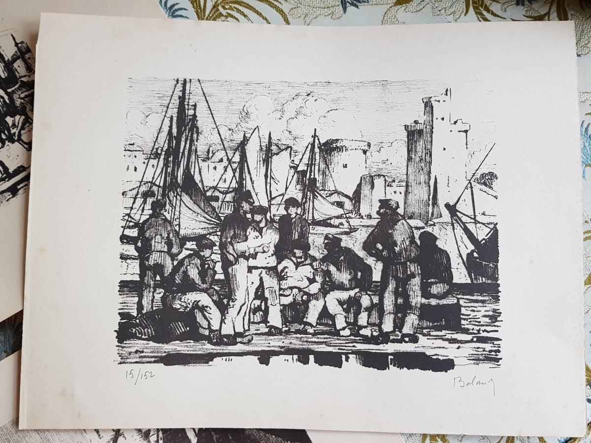 Série De Huit Lithographies De La Rochelle Par Gaston Balande éditions Touzeau-photo-5