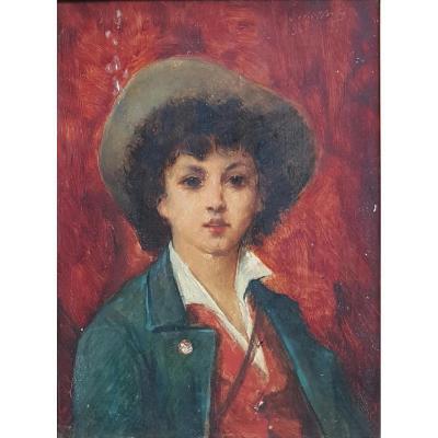 Portrait De Jeune Homme Napolitain Par Léon Herbo (1850-1907)école Belge