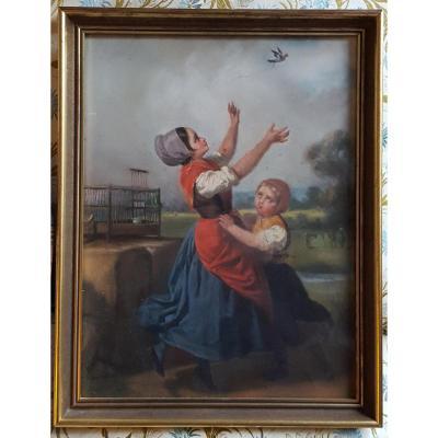 Pastel 19th Attr. Dillens Hendrick Joseph (henri) Belgian School Circa 1850.