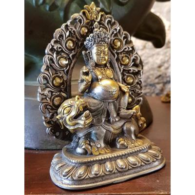 Bouddha Vaishravana En Bronze Argent 19ème