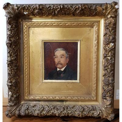 Tableau Portrait De Maire Signé V.géo Et Daté 1891 Dans Son Cadre Doré