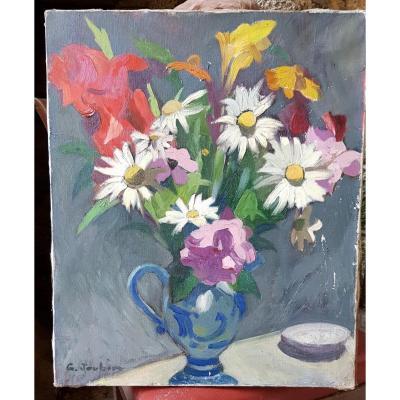 Huile Sur Toile Bouquet De Fleurs Au Pichet Par Georges Joubin (1888-1983)