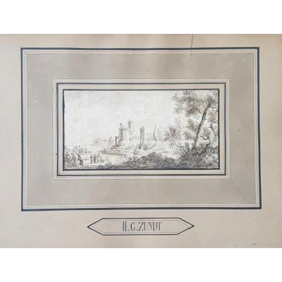 Small Drawing Ink 18th Port Scene St. Lacroix Marseille Or Joseph Vernet