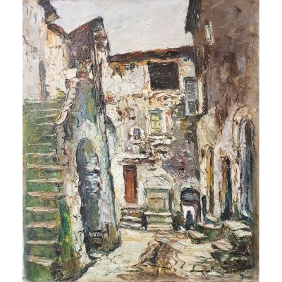 Tableau De René Le Forestier (1903-1972) La Fontaine De l'Escarène Près De Nice