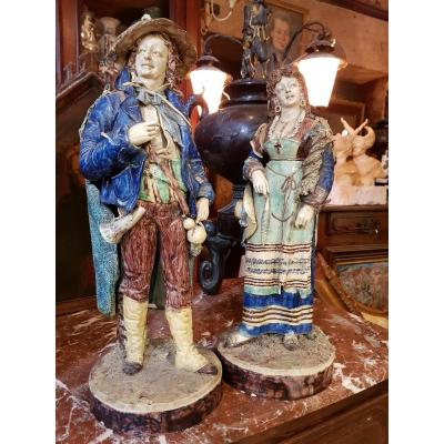 Pair Of Statues Signed Achille Barbizet After Palissy Italian Couple