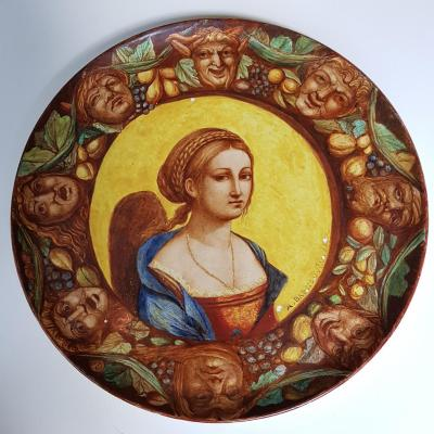Plaque En Faience De Hb Choisy Decor Néo Renaissance Portrait Et Grotesques